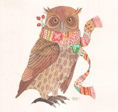 Christmas Owl - Oana Befort's Portfolio - watercolor