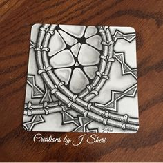 Square One || Zentangle Patterns: Rain (focus tangle), 'Nzepple and Lealad || Creations by J. Sheri
