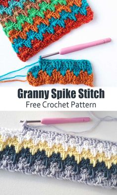 The Crochet Granny Spike Stitch creates a substantial fabric with a lot of visual interest and loads of potential for color play. It is a very relaxing crochet stitch to work. You can change colors every row, or every two rows which give the illusion of a Crochet Granny, Crochet Baby, Free Crochet, Crotchet, Cool Crochet Blanket, Crochet Cushions, Crochet Blocks, Crochet Pillow, Crochet Blankets