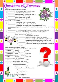 """Questions & Answers – exercises with """"who / what / whose / why / when / which / how / how many / how much"""" [5 different tasks] KEYS INCLUDED ((2 pages)) ***editable:"""