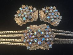 HIGH END VTG DEMI PARURE BRACELET CLIP EARRINGS AB RHINESTONES FAUX PEARLS  #CLASP