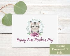 First Mother's Day Card, Printable 1st Mothers Day Card with Cat, Digital Download Printable Cards, Printables, First Mothers Day, Cat, Digital, Handmade Gifts, Etsy, Kid Craft Gifts, Printable Maps
