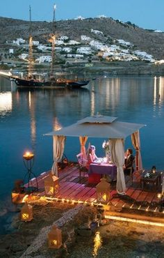 Romantic dinner in Santorini, Greece