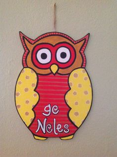 Seminole Owl Door Hanger on Etsy, $20.00