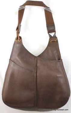 Lucky Brand Handbag Leather Brown Pebbled Shoulder Hobo Vintage Inspired Boho #LuckyBrand #ShoulderBag