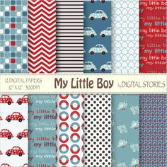 Baby Boy Digital Paper: MY LITTLE BOY red blue by DigitalStories