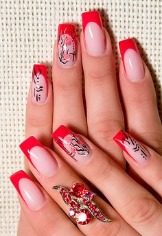 Vivid red tips with red roses