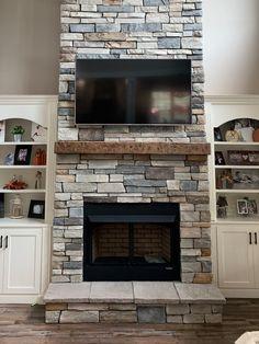 Airstone Fireplace, Fireplace Tv Wall, Basement Fireplace, Brick Fireplace Makeover, Farmhouse Fireplace, Fireplace Remodel, Modern Fireplace, Living Room With Fireplace, Fireplace Surrounds