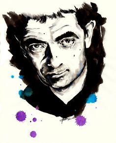 Rowan Atkinson - Parker pen & Blue, Purple, Black Ink - Illustration by Mitja Bokun, August 2012