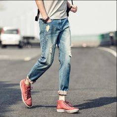 31.16$  Buy now - https://alitems.com/g/1e8d114494b01f4c715516525dc3e8/?i=5&ulp=https%3A%2F%2Fwww.aliexpress.com%2Fitem%2F2016-Retro-Blue-Ripped-Jeans-Men-Slim-Jeans-Ankle-Length-Pants-Men-s-Spring-Fashion-Jeans%2F32616071114.html - 2016 Retro Blue Ripped Jeans Men Slim Jeans Ankle-Length Pants Men's Spring Fashion Jeans High quality Brand Jeans Homme