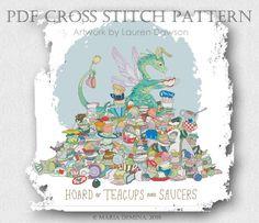 Dragon Hoard of Teacups and Saucers PDF cross stitch pattern от LittleRoomInTheAttic