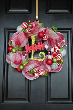 Mesh Candy Wreath Christmas Red White