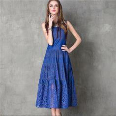 Women Denim Patchwork Lace Dress Sleeveless Casual Ethnic Maxi Dress Women Vintage Tunic Beach Vacation Boho Long Dress #A117