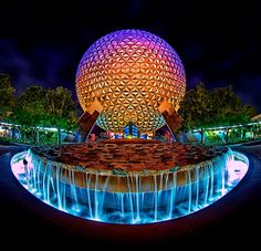 Spaceship Earth in EPCOT at night