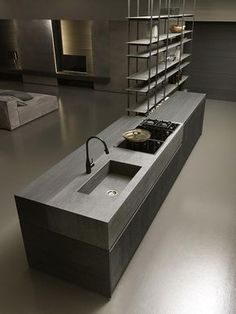 Blade - Cucine. Love the junction of stone and wood here too