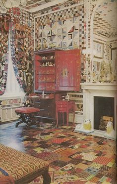 """Gloria Vanderbilt Cooper's boudoir. Make sure to follow the link to the site this came from. It's the most amazing """"patchwork""""room!"""