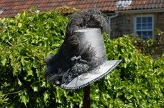 Georgian hat in silver silk with large vintage ostrich feather