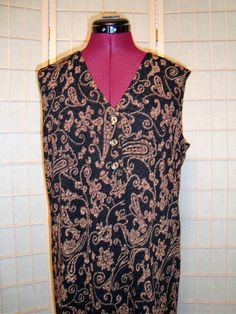 New WT Coldwater Creek Sz M Women's Black & Brown Paisley Stretch Knit Long Vest #ColdwaterCreek