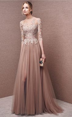 Wholesale Price 3/4 Length Sleeve Bateau Tulle Lace Long A-line Evening Dresses…