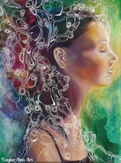 Dreamer Watercolor and Oil Painting by TaylorAnnArt on Etsy