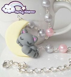 Clay kitty - Cat - Kitten - Necklace - Charm - Idea - Chasing Rainbows - Moon