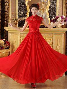 Chiffon A-line Ankle-length Mesh Cutwork Embroidery Cheongsam Wedding Dress - USD $ 176.00