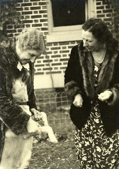 Helen Keller and Polly Thomson Playing with Kamikaze, circa 1938. Visit the Perkins Archives Flicker page: http://www.flickr.com/photos/perkinsarchive/collections/