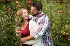 Fall engagement pictures in an apple orchard