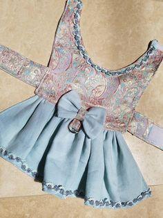 Shimmery Blue Linen Dog Dress Fancy Dog Puppy Pet Apparel