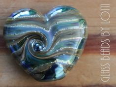 Handmade lampwork focal bead 'Abstract silver blue heart' - SRA