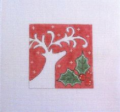White+Deer+on+Red+w/Holly+&+Berries++Handpainted+Needlepoint+Canvas