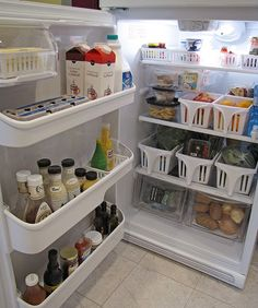 Organizing the refrigerator.