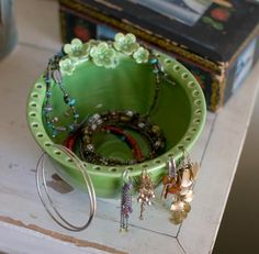 Earring jewelry bowl idea...  * Great idea! I'm glad I came across this pin! Thanks! :)