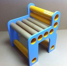 Chara chair - blue sides + orange cardboard tubes  www.babu.pt