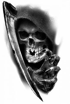 The grim reaper Tatto Skull, Skull Tattoo Design, Skull Design, Tattoo Designs, Skull Sleeve Tattoos, Tattoo Ideas, Tattoo Tod, Death Tattoo, Grey Tattoo