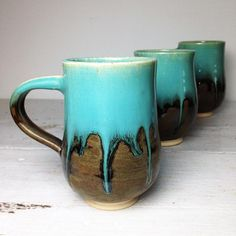 Beer Stein or Large Mug in Turquoise and Khaki