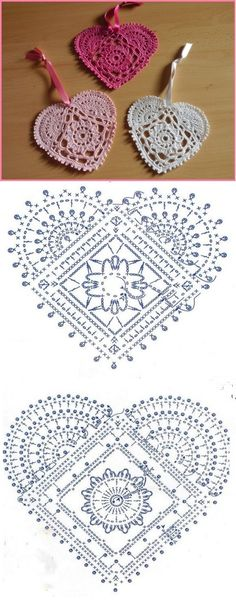 Lace Crochet Hearts with pattern from the site.