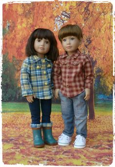 Pattern for a His n Hers Lumberjack Style Shirt to fit Kidz n Cats Dolls #23