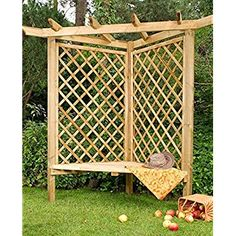 LiveOutside Wooden Corner Cambridge Arbour with Bench and Side Trellis. Dimensions: h205x109x154 cm