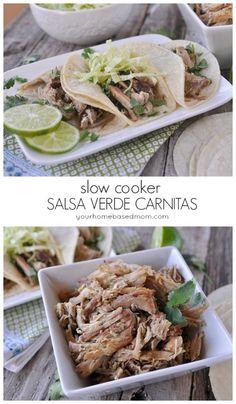 SLow Cooker Salsa Verde Carnitas from yourhomebasedmom