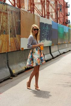 Wish I could pull off this mix of patterns - stripes & florals