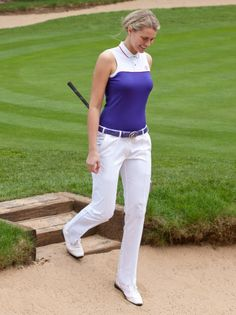 Ladies golf outfit - Eagle Shirt and White Tech Trousers.    I'm in love with the white trousers. Still available?