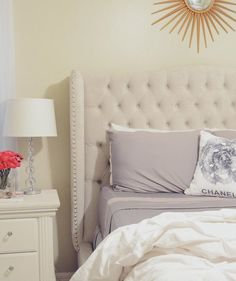 Loving @ misz_sanabria's bright + chic bedroom style, featuring our Jameson Bed.