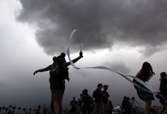 Coachella got under way under gloomy skies, high winds and scattered showers on the first day of the Coachella Valley Music and Arts Festival in Indio, Ca. on April 13. (Damon Winter/The New York Times) 2012