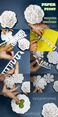 Paper Peonies, Paper Flowers, Printer Paper, Crepe Paper, Flower Tutorial, Silhouette Projects, Flower Making, Paper Crafts, Gift Wrapping