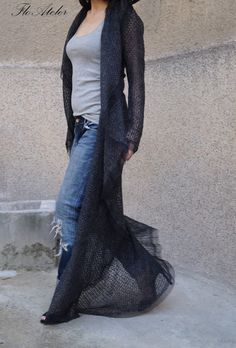 Charcoal Gray Loose Asymmetrical Cardigan/Spring Cape Coat/ Poncho Coat/ Long Sleeve Trench Coat /Jacket for Women /High Quality Vest/ F1480