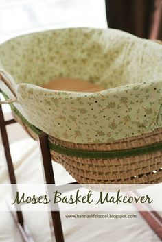 Hanna's Life is Cool: Moses Basket Makeover Baby Girl Crib Bedding, Baby Bassinet, Nursery Bedding, Nursery Room, Nursery Ideas, Moses Basket Bedding, Mosses Basket, Baby Moses, Basket Liners