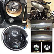 SUNPIE Black 7″ Round Daymaker LED Projectior Headlight for Jeep Wrangler Harley Davidson Motorcycle