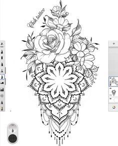 Tattoo Femeninos, Hd Tattoos, Half Sleeve Tattoos Drawings, Mommy Tattoos, Tattoo Design Drawings, Rose Tattoos, Body Art Tattoos, Flower Cover Up Tattoos, Mandala Flower Tattoos