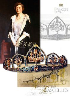 #jewellery of Princess Royal -A hidden treasure and the story of the the gothic tiara more … A Sapphire, Enamel and Gold Head Ornament, composed of five graduated gold and enamel Gothic arche #royaljewelhistory #britishroyaljewel #royaltiara #RoyalWedding Arts and Crafts - Art Nouveau - Art Deco H G MURPHY